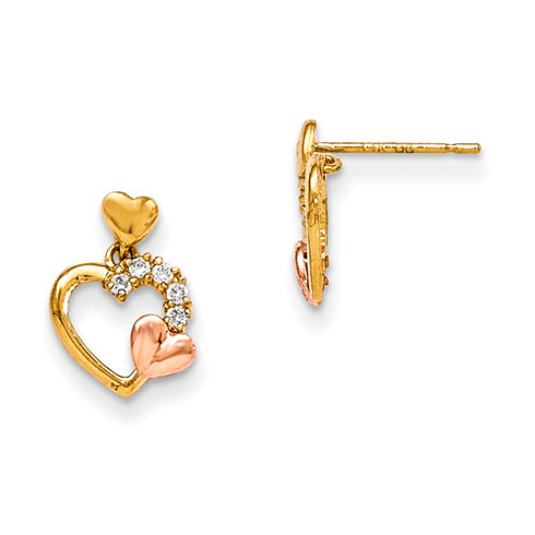 14kt Yellow Gold CZ Triple Heart Dangle Earrings with Rose Gold Accent
