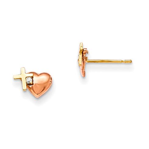 14kt Yellow and Rose Gold Madi K CZ Heart and Cross Earrings