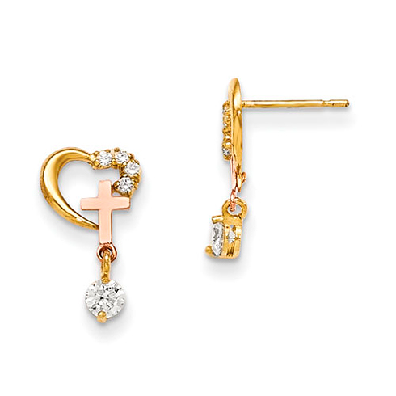 14kt Yellow Gold Madi K CZ Children's Heart  Earrings with Rose Gold Cross