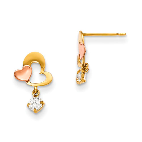 14kt Yellow and Rose Gold Madi K CZ Heart Dangle Post Earrings