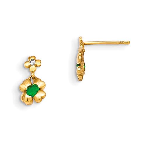 14kt Yellow Gold Madi K Green CZ Children's 4-leaf Clover Dangle Earrings