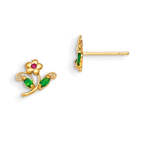 14kt Yellow Gold Madi K Green and Red CZ Children's Flower Post Earrings