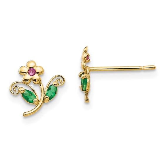 14kt Yellow Gold Madi K Green Red CZ Children's Flower Earrings