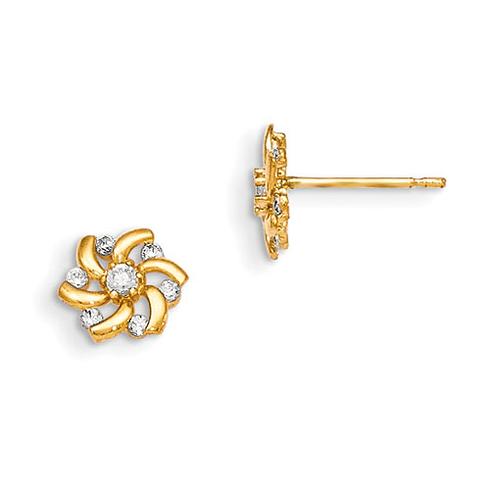 14kt Yellow Gold Madi K White CZ Children's Flower Post Earrings