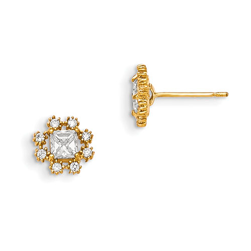 14kt Yellow Gold Madi K Square and Round CZ Children's Flower Earrings