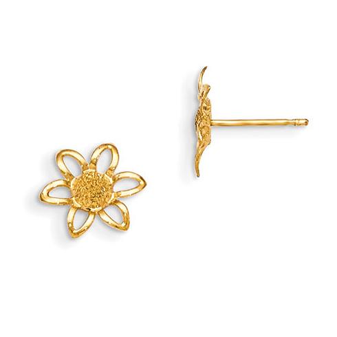 14kt Yellow Gold Madi K Flower Post Earrings for Children