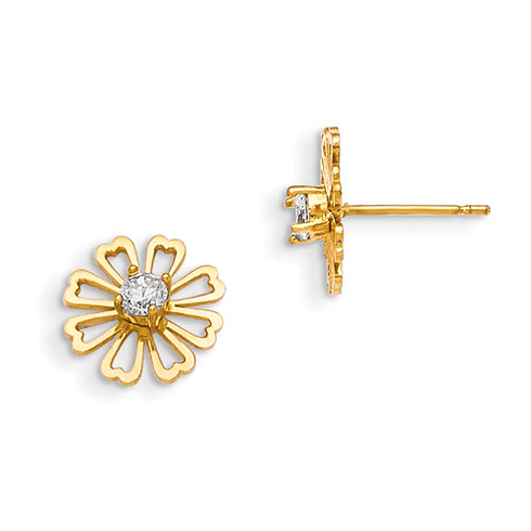 14kt Yellow Gold Madi K Children's Flower Earrings with CZ Accents