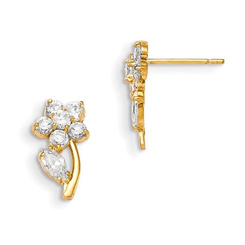 14kt Yellow Gold Madi K CZ Encrusted Children's Flower Earrings