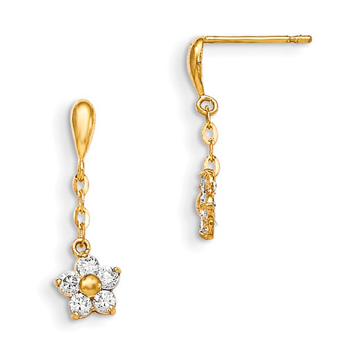 14kt Yellow Gold Madi K CZ Children's Flower Dangle Chain Earrings