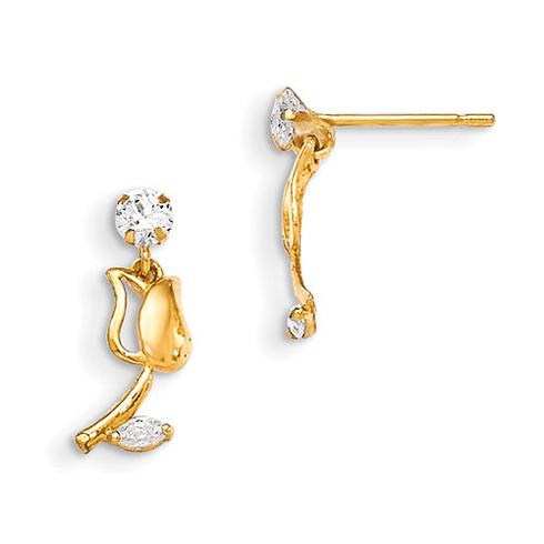 14kt Yellow Gold Madi K CZ Children's Tulip Dangle Earrings