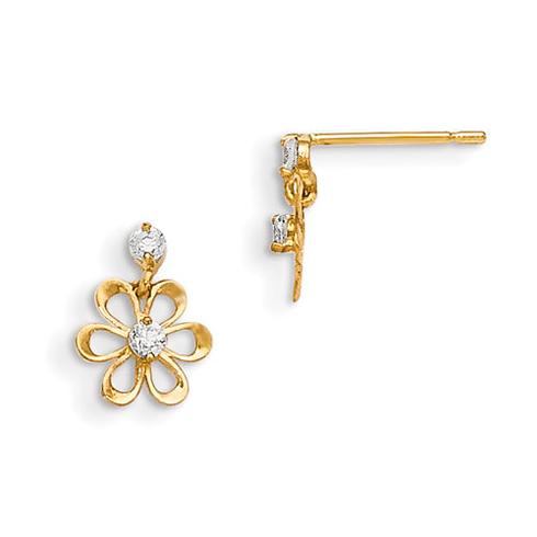 14kt Yellow Gold Madi K CZ Children's Flower Dangle Post Earrings