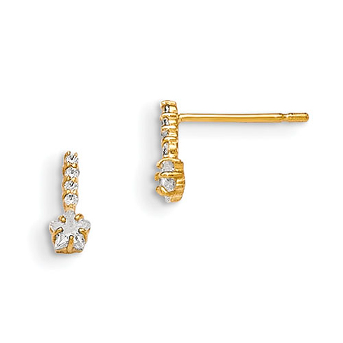 14kt Yellow Gold Madi K CZ Children's Star Post Earrings