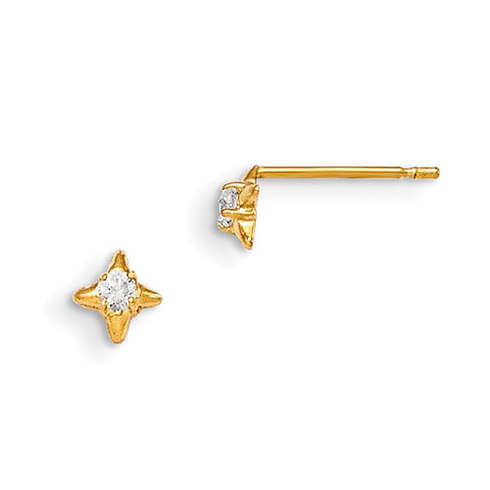 14kt Yellow Gold Madi K CZ Children's Four Pointed Earrings