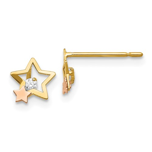 14kt Yellow and Rose Gold Madi K CZ Children's Star Post Earrings