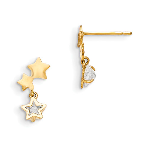 14kt Yellow Gold Madi K CZ Children's Star Trio Dangle Post Earrings