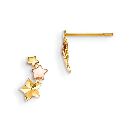 14kt Yellow and Rose Gold Madi K Children's Star Trio Post Earrings