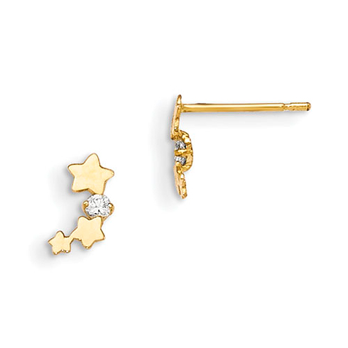14kt Yellow Gold Madi K CZ Children's Star Stream Post Earrings