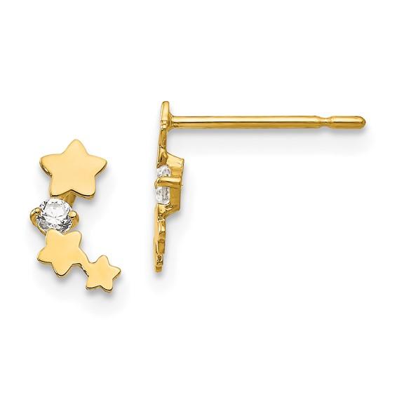 14kt Yellow Gold Madi K CZ Children's Star Stream Post Earrings