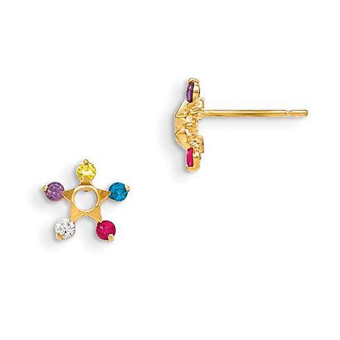 14kt Yellow Gold Madi K Multi-Colored CZ Children's Star Earrings