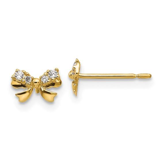 14kt Yellow Gold Madi K CZ Children's Bow Post Earrings