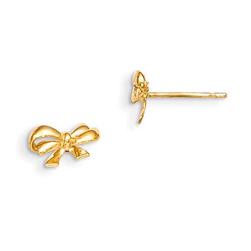 14kt Yellow Gold Madi K Children's Bow Post Earrings