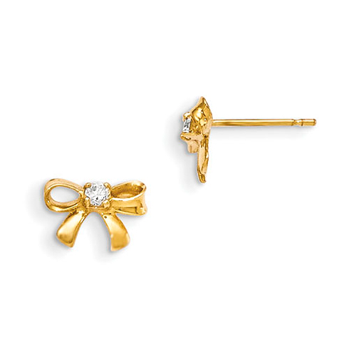14kt Yellow Gold Madi K Children's Bow Post Earrings with CZ Accents