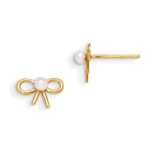 14kt Yellow Gold Madi K Freshwater Cultured Pearl Children's Bow Post Earrings