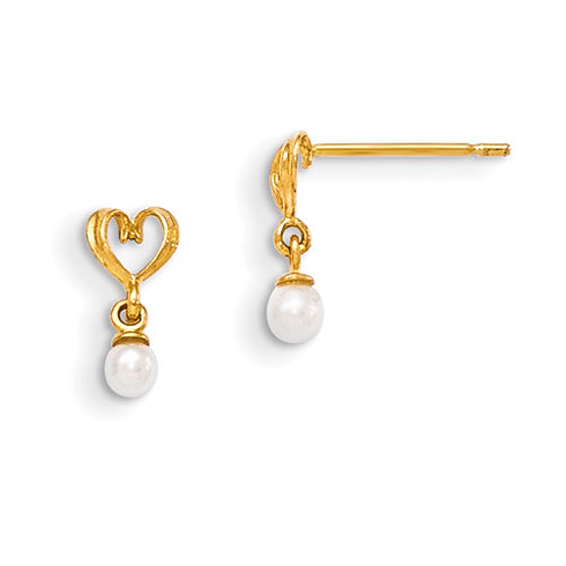 14kt Yellow Gold Madi K Freshwater Cultured Pearl Heart Dangle Post Earrings