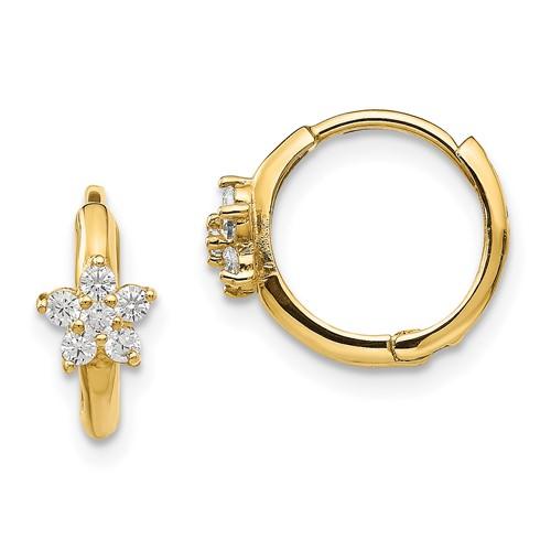 14kt Yellow Gold Madi K CZ Children's Flower Hinged Hoop Earrings