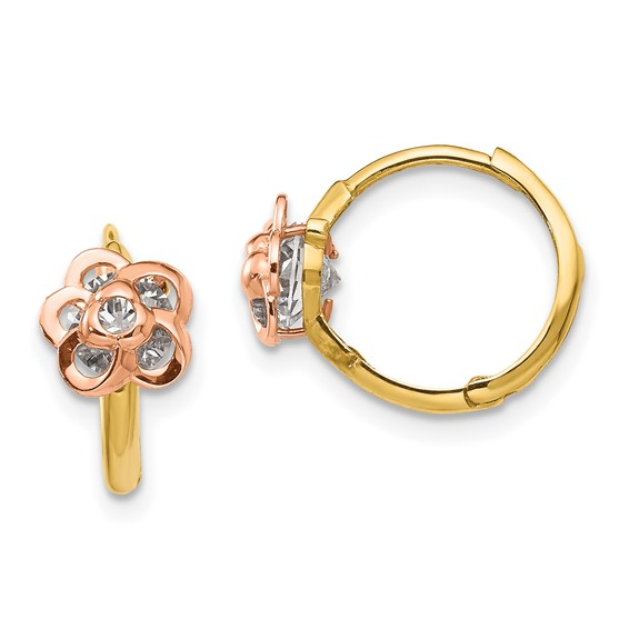 14kt Yellow and Rose Gold Madi K CZ Flower Hinged Hoop Earrings