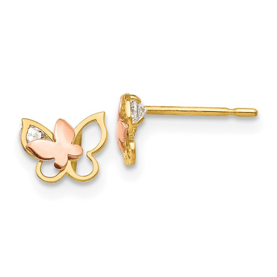 14kt Yellow and Rose Gold Madi K CZ Children's Butterfly Post Earrings