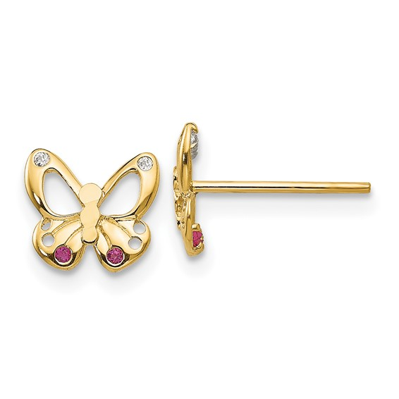 14kt Yellow Gold Madi K Red and White CZ Children's Butterfly Post Earrings