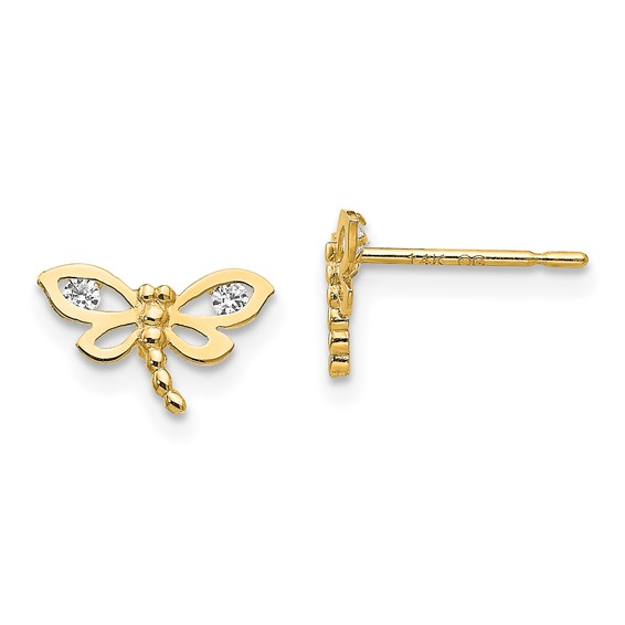 14kt Yellow Gold Madi K Children's Dragonfly Post Earrings with CZ accents