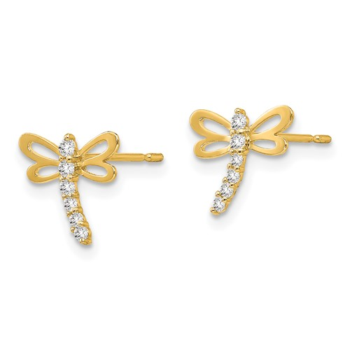 14kt Yellow Gold Madi K CZ Children's Dragonfly Post Earrings