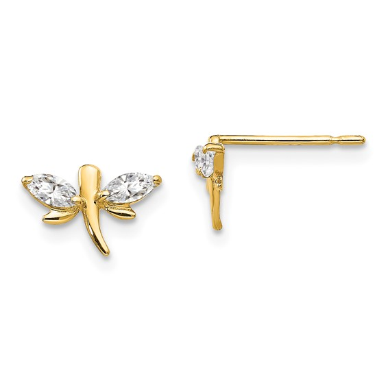 14kt Yellow Gold Madi K Marquise CZ Children's Dragonfly Post Earrings