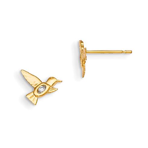 14kt Yellow Gold Madi K CZ Children's Hummingbird Post Earrings
