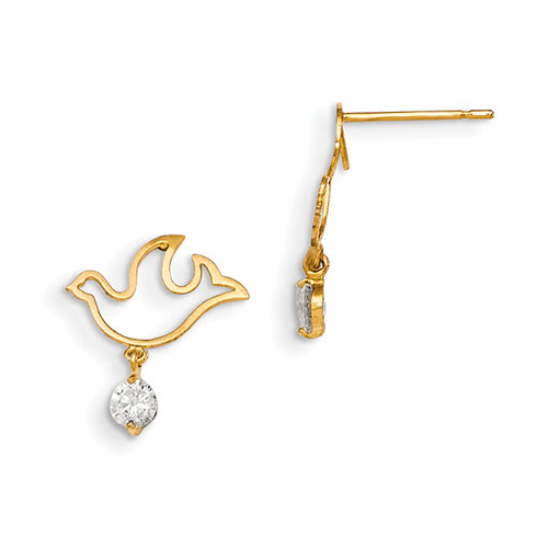 14kt Yellow Gold Madi K CZ Children's Dove Dangle Post Earrings