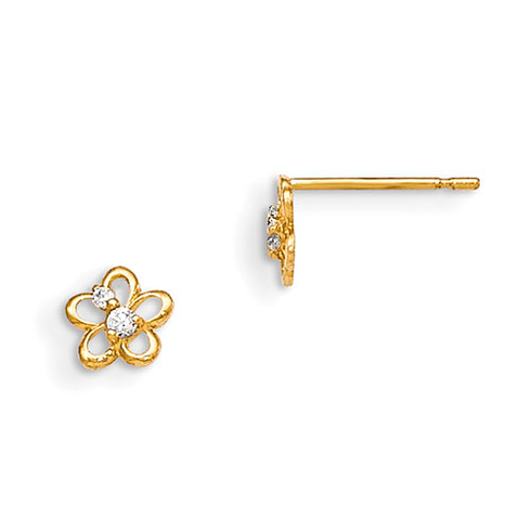 14kt Yellow Gold Madi K Children's Flower Post Earrings with Two CZ Accents