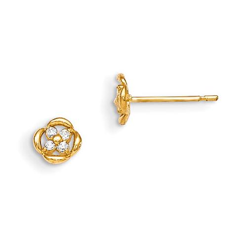 14kt Yellow Gold Madi K CZ Children's Dainty Flower Post Earrings