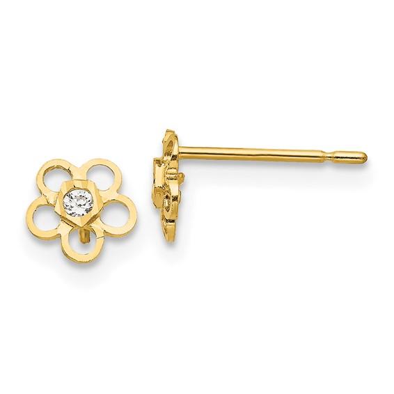 14kt Yellow Gold Madi K CZ Children's Mini Flower Earrings
