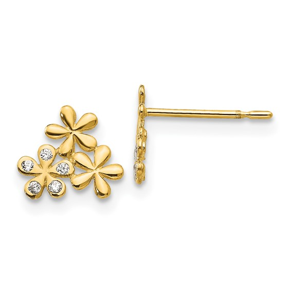 14kt Yellow Gold Madi K CZ Children's Three Flowers  Earrings