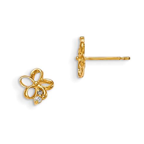 14kt Yellow Gold 3/8in Madi K CZ Children's Flower Post Earrings