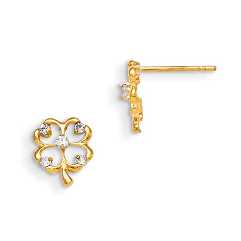 14kt Yellow Gold Madi K CZ Children's 4-leaf Clover Post Earrings