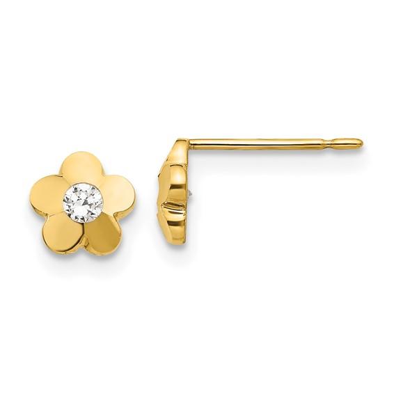 14kt Yellow Gold 1/4in Madi K CZ Children's Flower Post Earrings