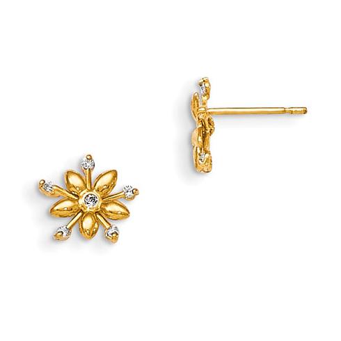 14kt Yellow Gold Madi K CZ Children's Fancy Flower Post Earrings
