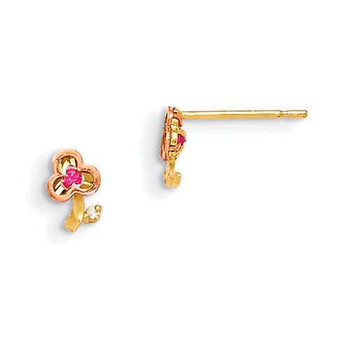 14kt Yellow and Rose Gold Madi K Red CZ Children's Clover Post Earrings