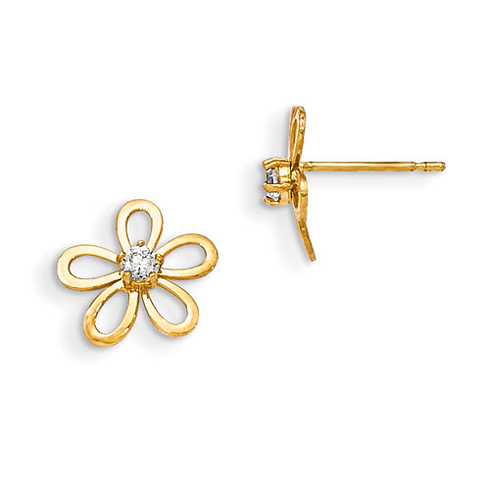 14kt Yellow Gold Madi K CZ Children's Cut-out Flower Post Earrings