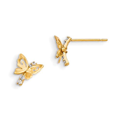 14kt Yellow Gold Madi K CZ Children's Butterfly Post Earrings