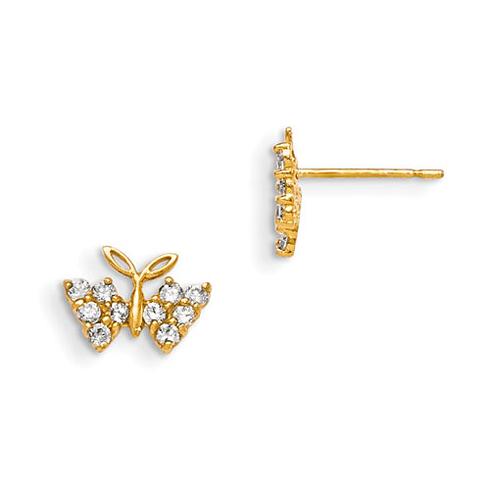 14kt Yellow Gold Madi K CZ Children's Butterfly Earrings