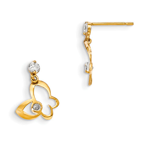 14kt Yellow Gold Madi K CZ Children's Cut-out Butterfly Dangle Earrings